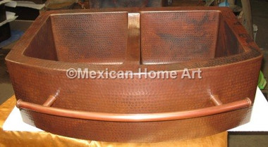 Copper Farmhouse Sink Double Well 33x22x10 Rounded Front 8 Divider Mexican Home Art