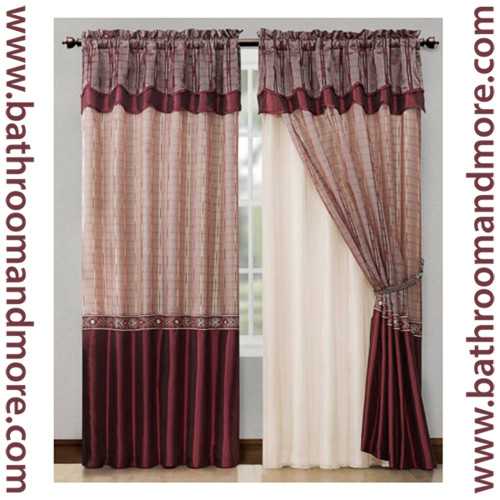 Burgundy Red Window Curtain Drapery Set Double Layer Panel W Double Layer Valance 55x90