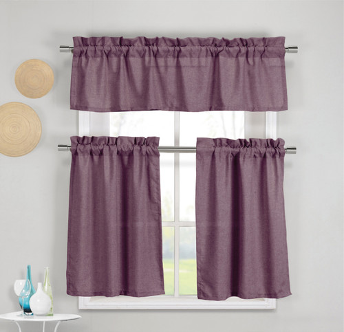 3 Piece Faux Cotton Plum Purple Kitchen Window Curtain Panel Set With 1 Valance And 2 Tier Panel
