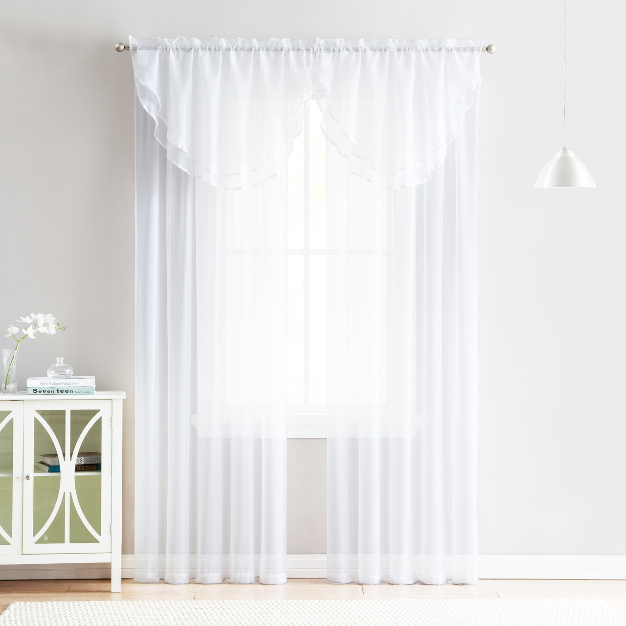 4 Piece Sheer Window Curtain Set For Living Room Dining Room Bay Windows 2 Voile Valance Curtains And 2 Panels 84 In Long White