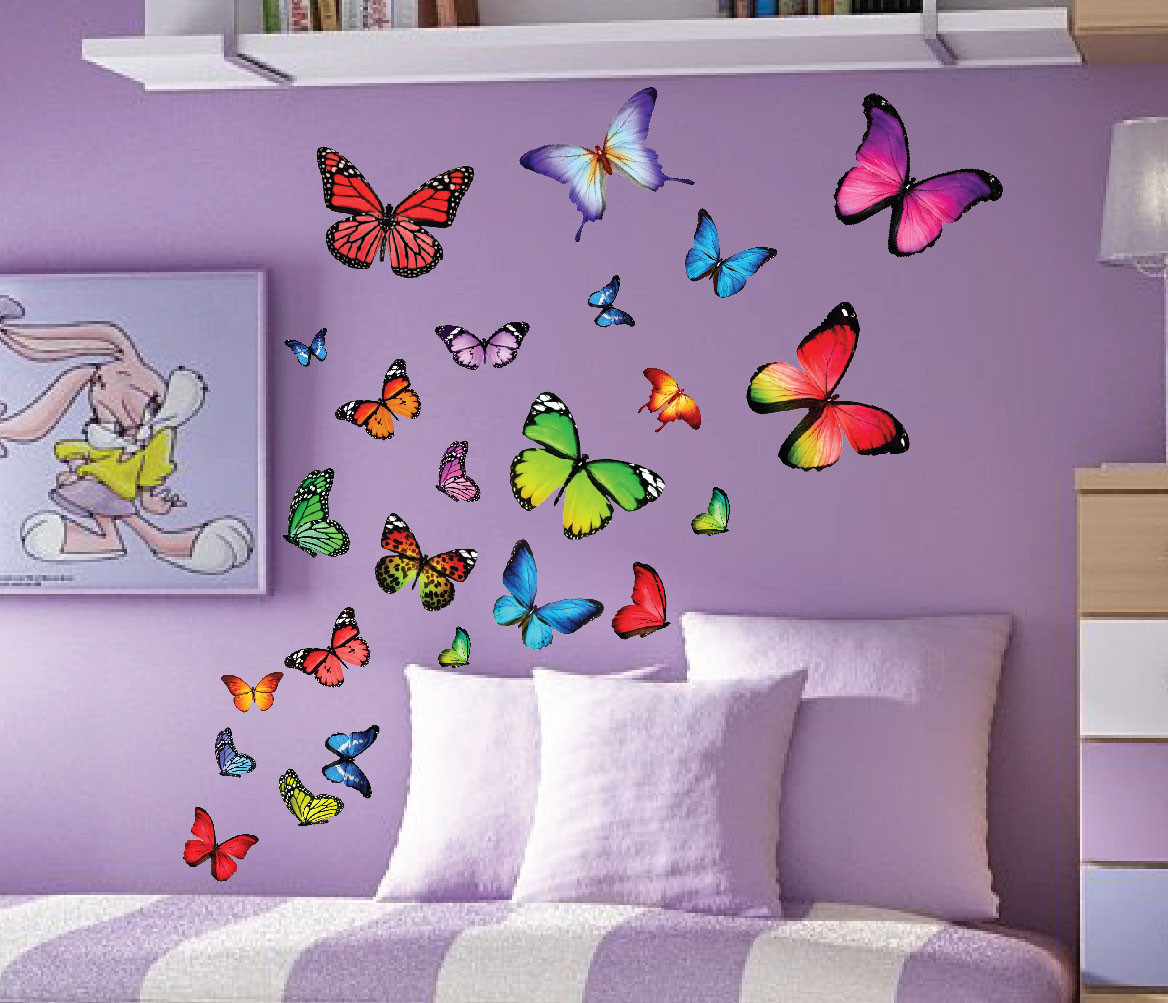 Colorfull Butterfly Nursery Kids Wall Decals Set Of 40