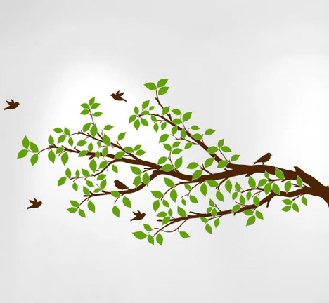 Tree Branches Wall Decal Birds Vinyl Sticker Nursery Leaves 1296 InnovativeStencils