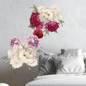 Peony Flowers Vintage Bouquet Wall Decal Sticker Peel and Stick     Image 1