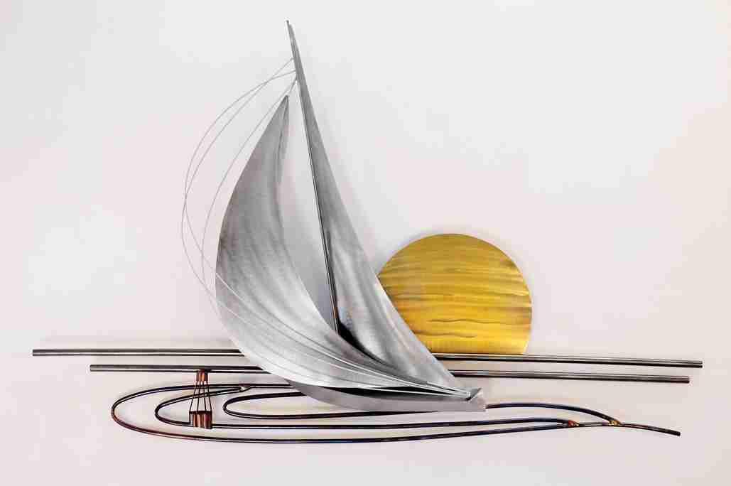 Sunset Sailboat Stainless Steel Sculpture MM118