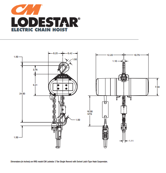 CM Lodestar Single Reeved Hoist | 2 Ton | 10' Lift | 230