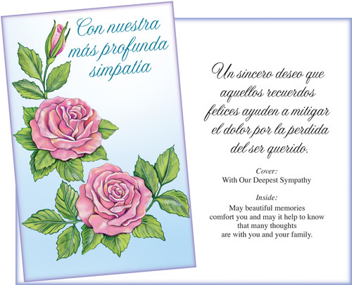 01033 Six Spanish Sympathy Greeting Cards With Six