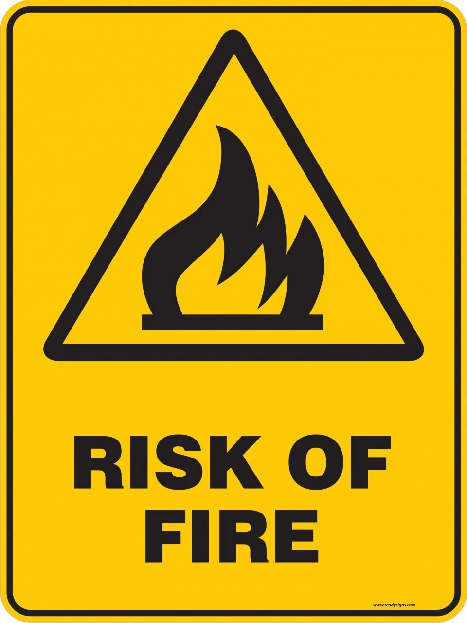 Warning Sign RISK OF FIRE Ready Signs
