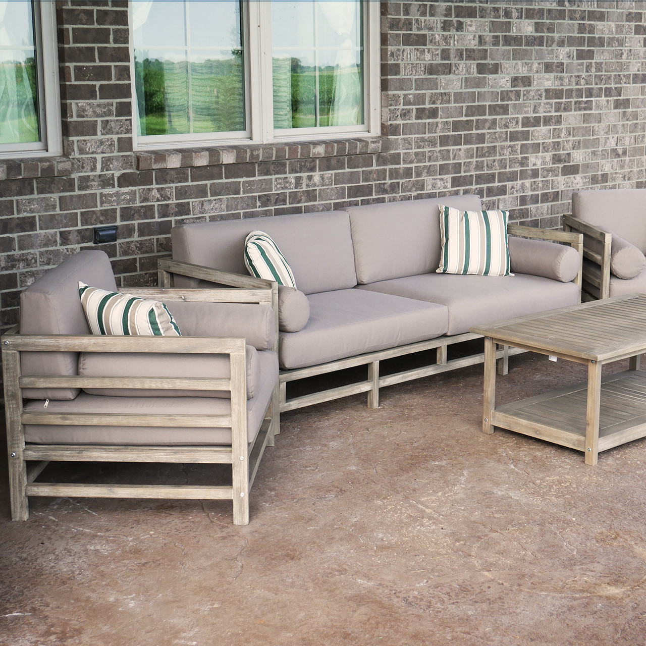 Grand Haven 4-Piece Acacia Wood Outdoor Patio Sofa Set ... on Outdoor Loveseat Sets  id=98840