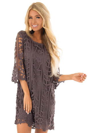 Buy Cute Boutique Dresses for Women Online   Lime Lush Charcoal 3 4 Sleeve Lace Dress with Scalloped Detail front close up