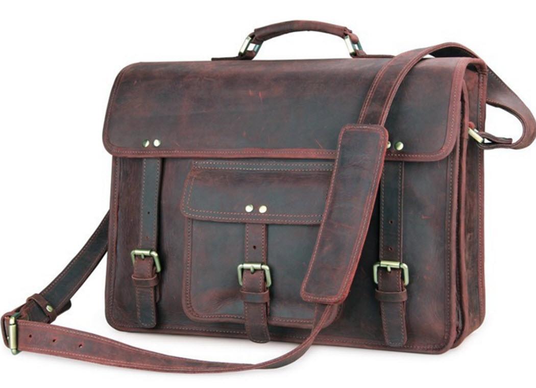 big sur men s full grain distressed leather laptop briefcase travel bag