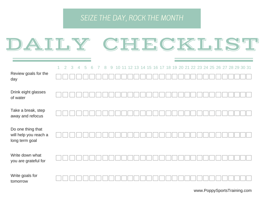 Free Printable Daily Checklist For Monthly Success