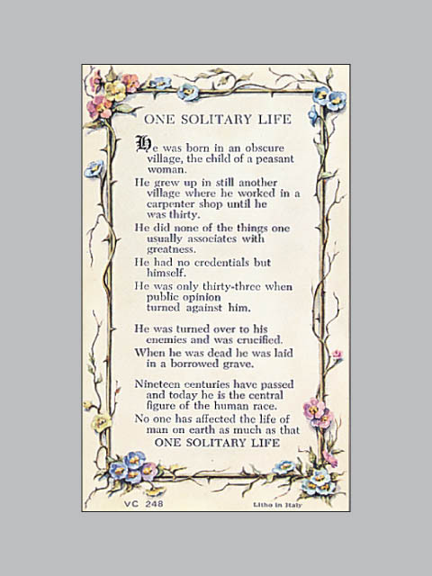 Laminated Holy Verse Cards One Solitary Life Ark
