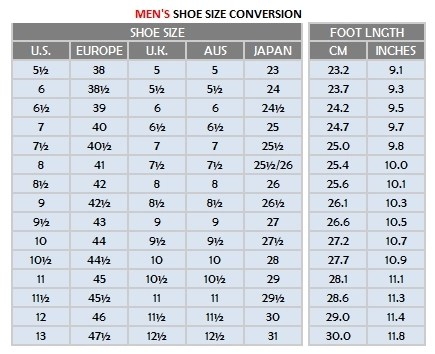 North American To European Shoe Size Conversion