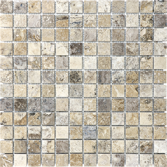 picasso travertine honed filled 1x1 mosaic tile
