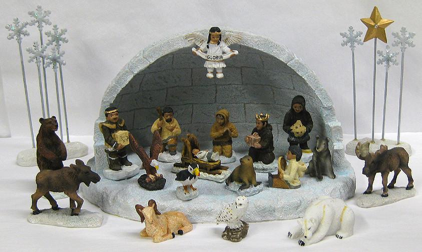 Alaska Nativity 22 Piece Set Resin Nativity Eskimo
