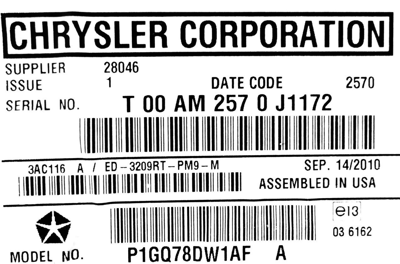Chrysler Dodge Entertainment System Overhead Display Lcd