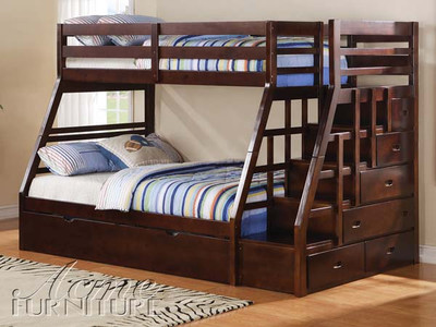 Ac37015 Jason Espresso Solid Wood Twin Over Full Bunk Bed Set With Storage Ladder And Trundle