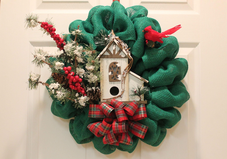 DIY Burlap Christmas Wreath Woodland Bird House The