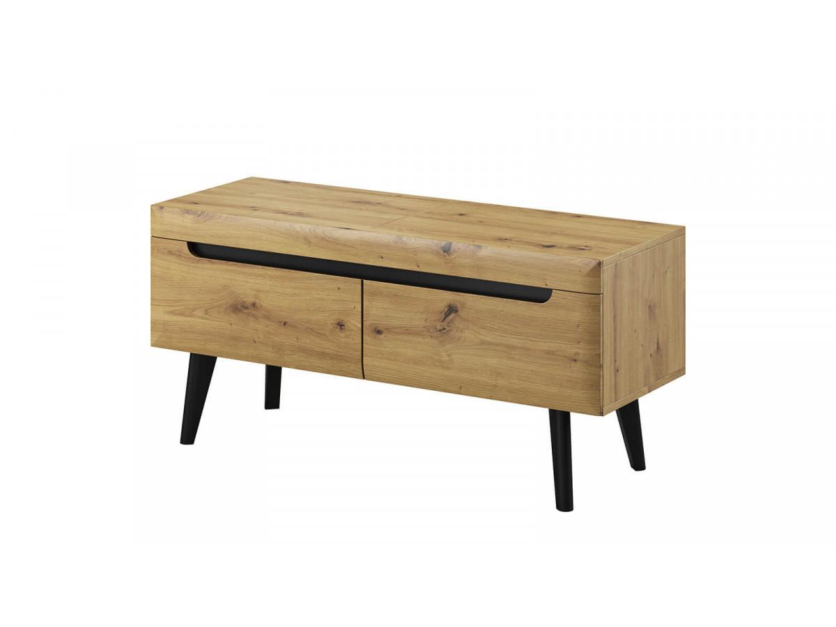 meuble tv 107 cm nordi retro chene et noir