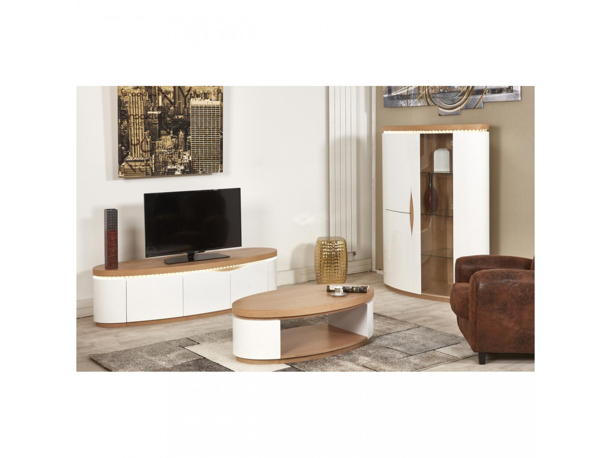 meuble tv 170 cm 3 portes ellipse chene et blanc