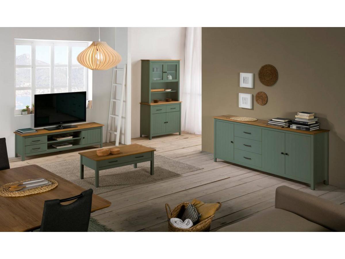 meuble tv 158 cm megane vert et bois clair