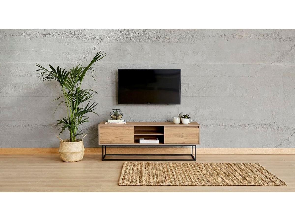 meuble tv 140 cm mokka noyer et noir