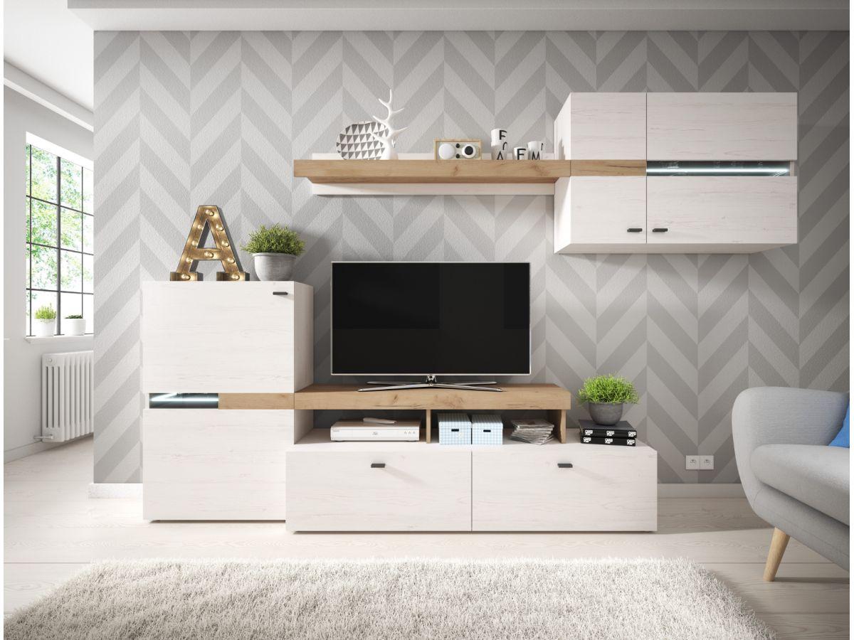 mur tv 260 cm yego blanc et chene