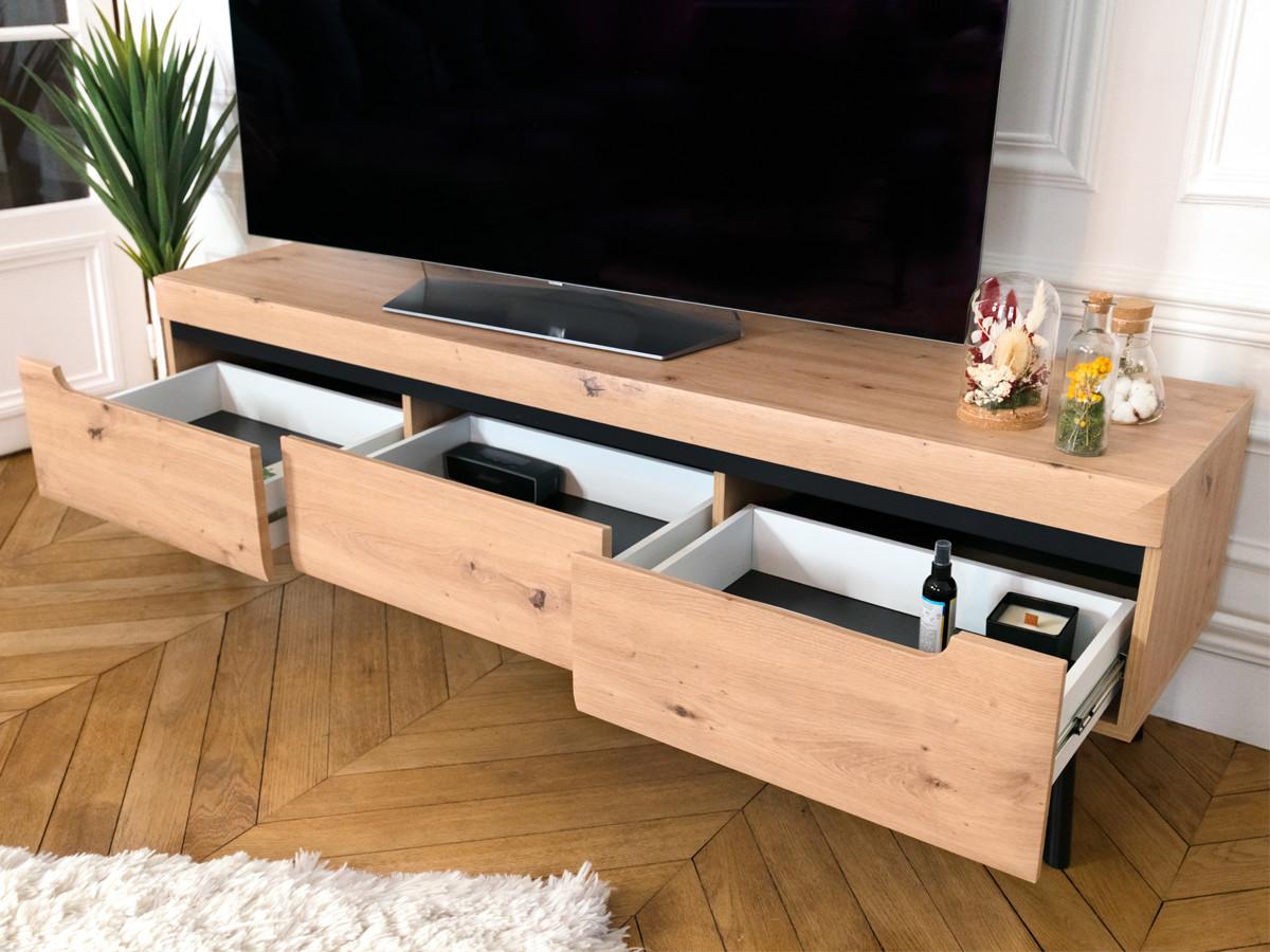 meuble tv nordi retro 160 chene et noir