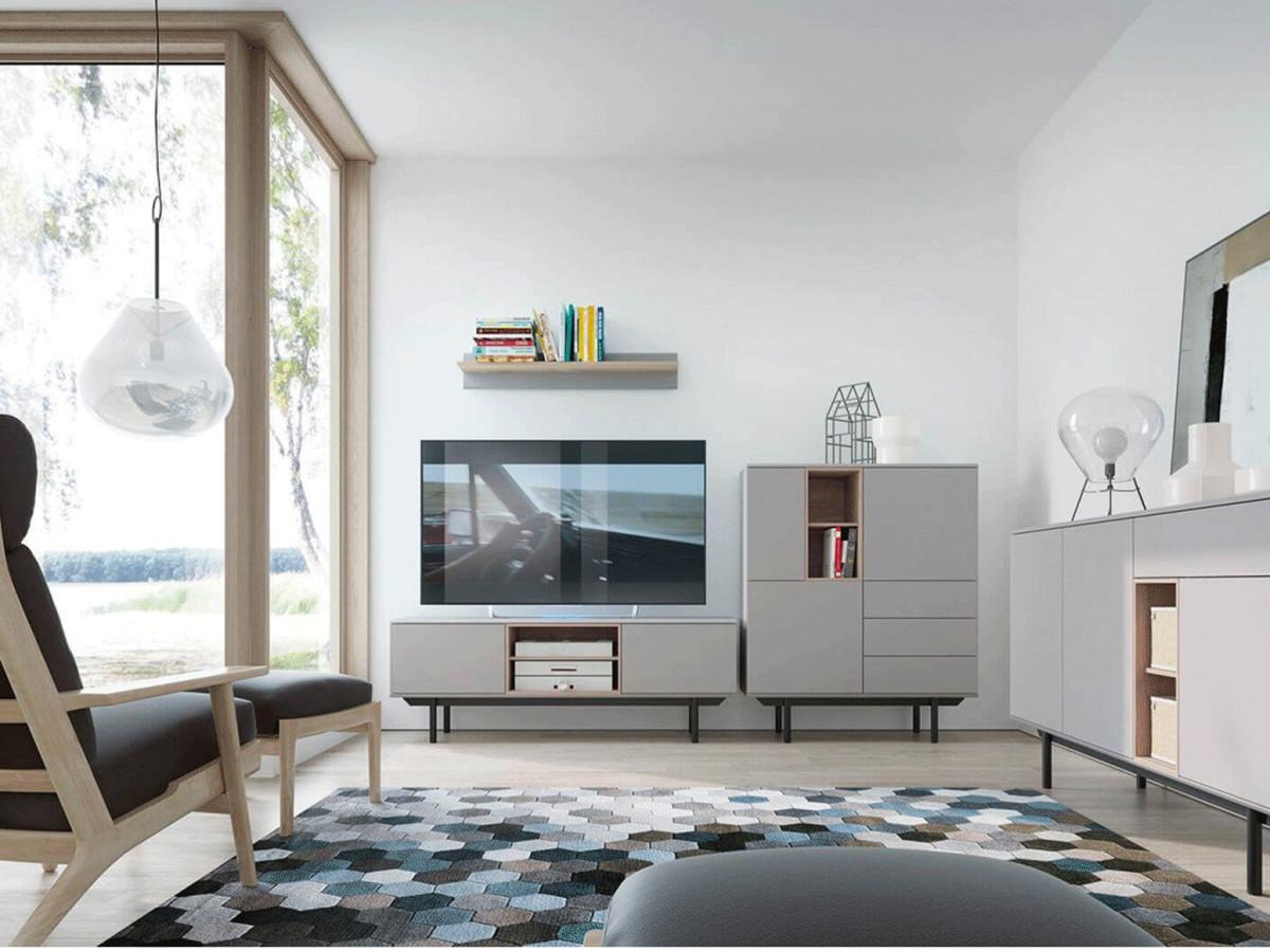 meuble tv 150 cm inoxi gris chene et noir