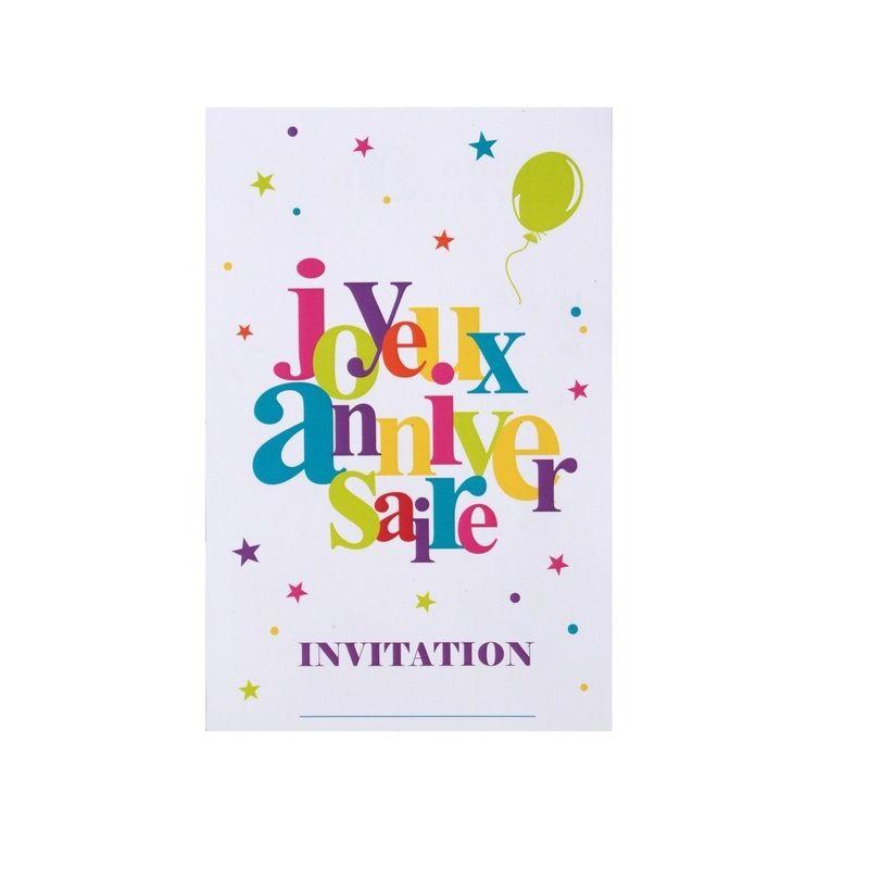 6 cartes d invitation joyeux anniversaire multicolore