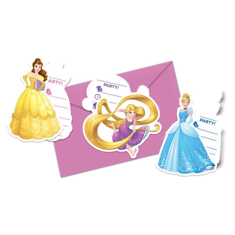 6 cartes d invitation princesses disney