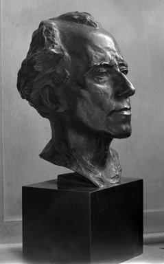 Auguste Rodin (French, 1840-1917). Gustav Mahler, 1909; cast between 1910-1914. Bronze, 13 3/8 x 11 x 9 3/4 in.  (34.0 x 27.9 x 24.8 cm). Brooklyn Museum, Ella C. Woodward Memorial Fund, 22.10. Creative Commons-BY (Photo: Brooklyn Museum, 22.10_glass_bw.jpg)