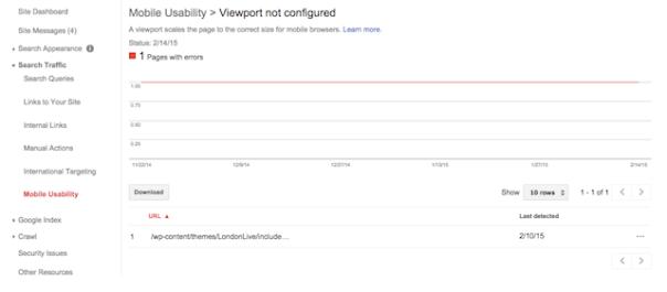 webmaster tools mobile usablility