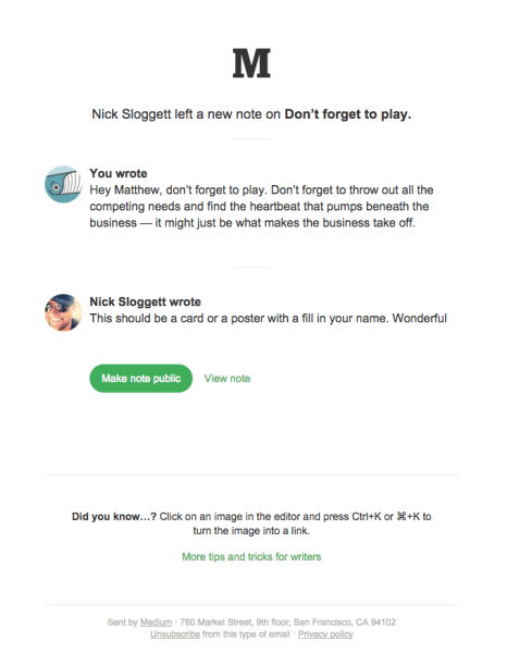 "A note was added to ""Don't forget to play.""   Really Good Emails"