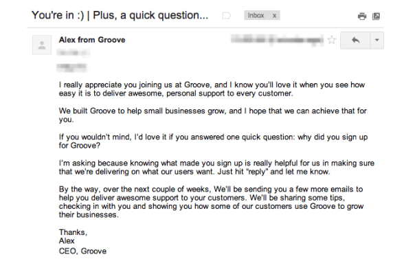 Example of a SaaS welcome email