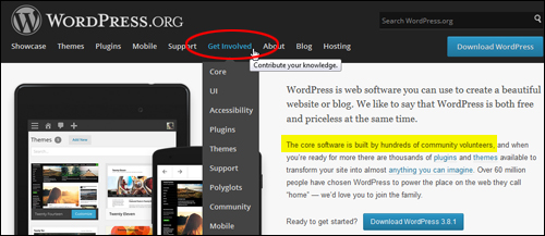 WordPress is built and maintained by an open community of contributors