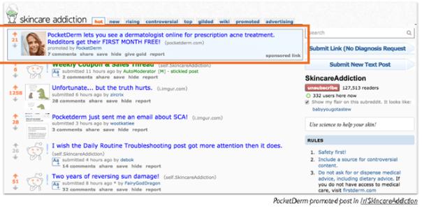 Reddit CPM Curology Ad