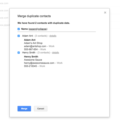 Merge Duplicate contacts PieSync Google Contacts