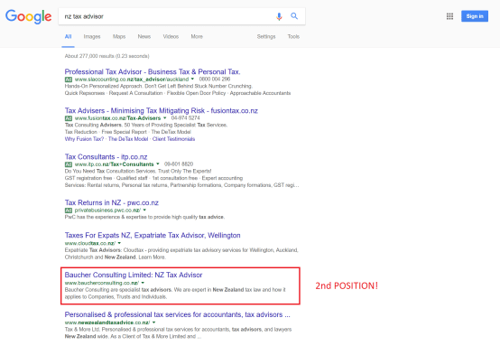 Baucher showing in 2nd position on Google search
