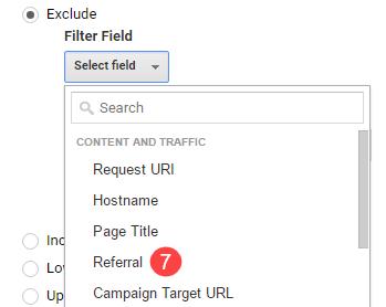 analytics referral filter