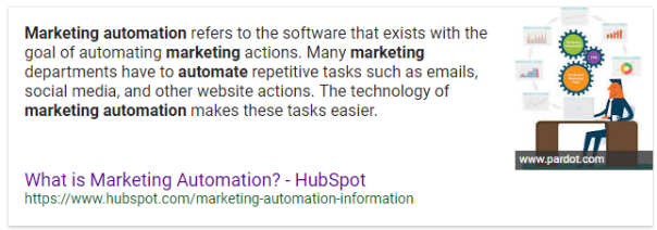marketing automation featured snippet