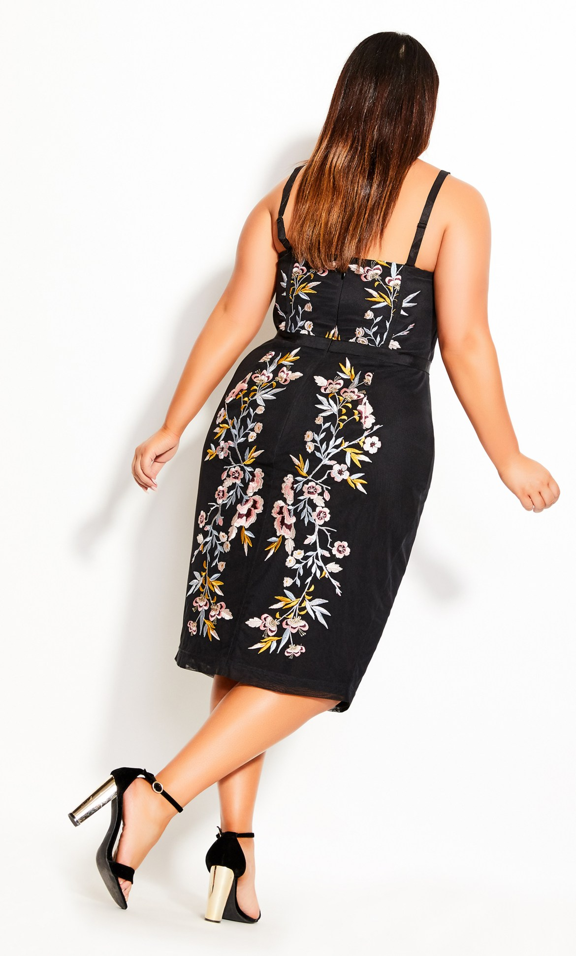 Softly Embroidered Dress - black 10