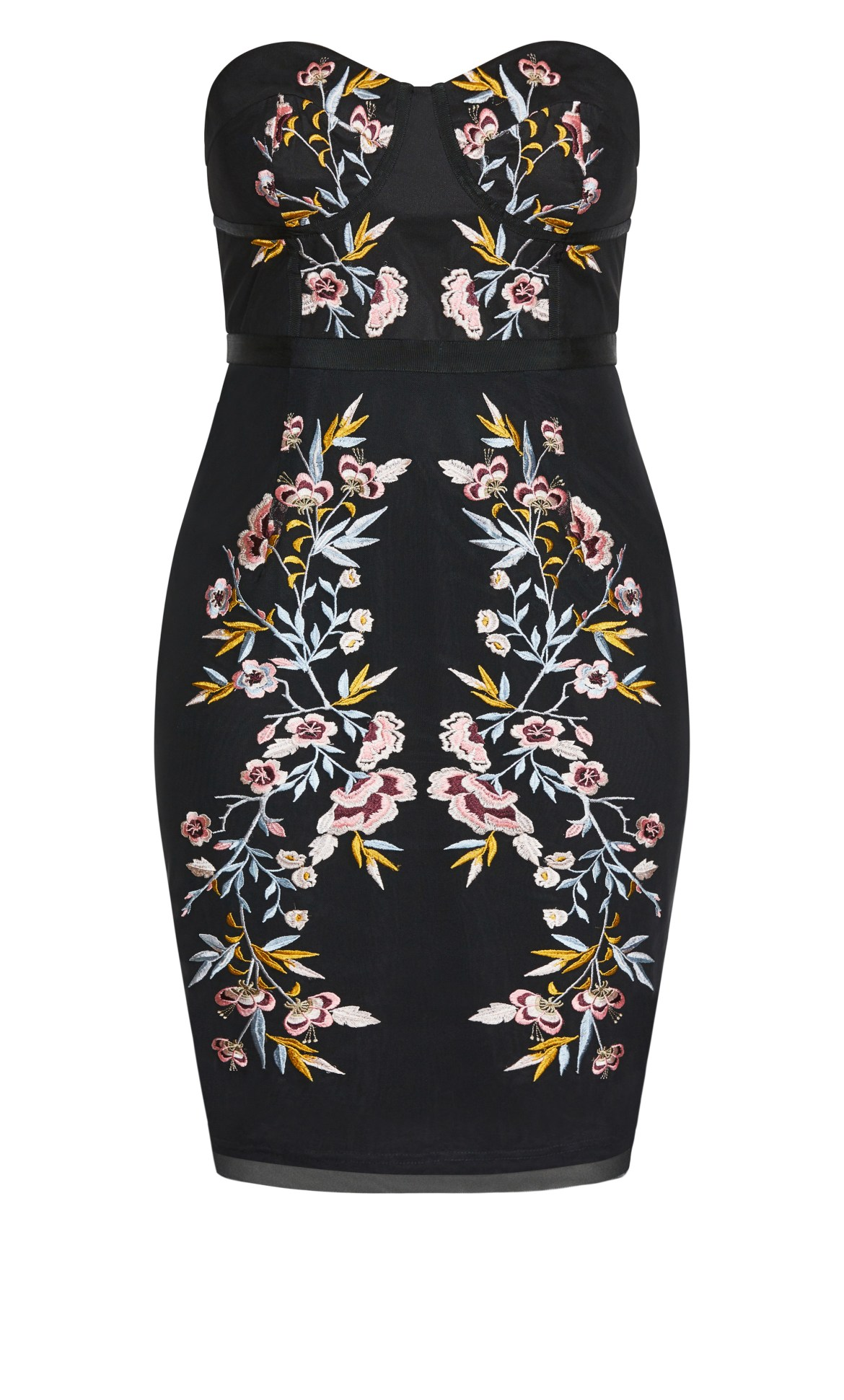 Softly Embroidered Dress - black 11