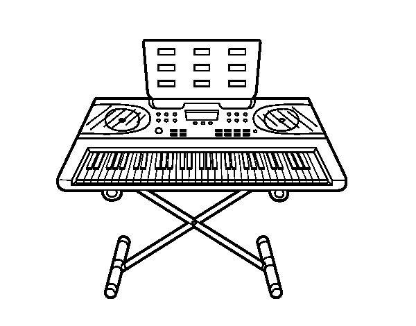 piano synthesizer coloring page  coloringcrew