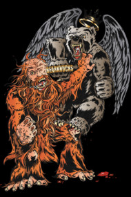 Sasquatch vs Winged King WereBear T Shirt. A legend that rolled down from the steep snow topped mountain country and folded into the tales of old. Two mythic creatures crossed paths and battle ensued to claim the mountain tops and remote river valley territory. The epic strength of Sasquatch vs the sharp flying attack of King WereBear. A clash of legendary proportions.