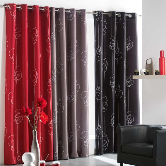 rideau 140 x h260 cm looping rouge