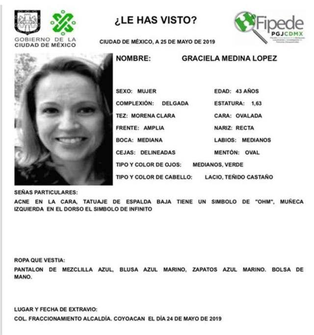 Graciela Medina López fue reportada como desaparecida desde el viernes 24 de mayo
