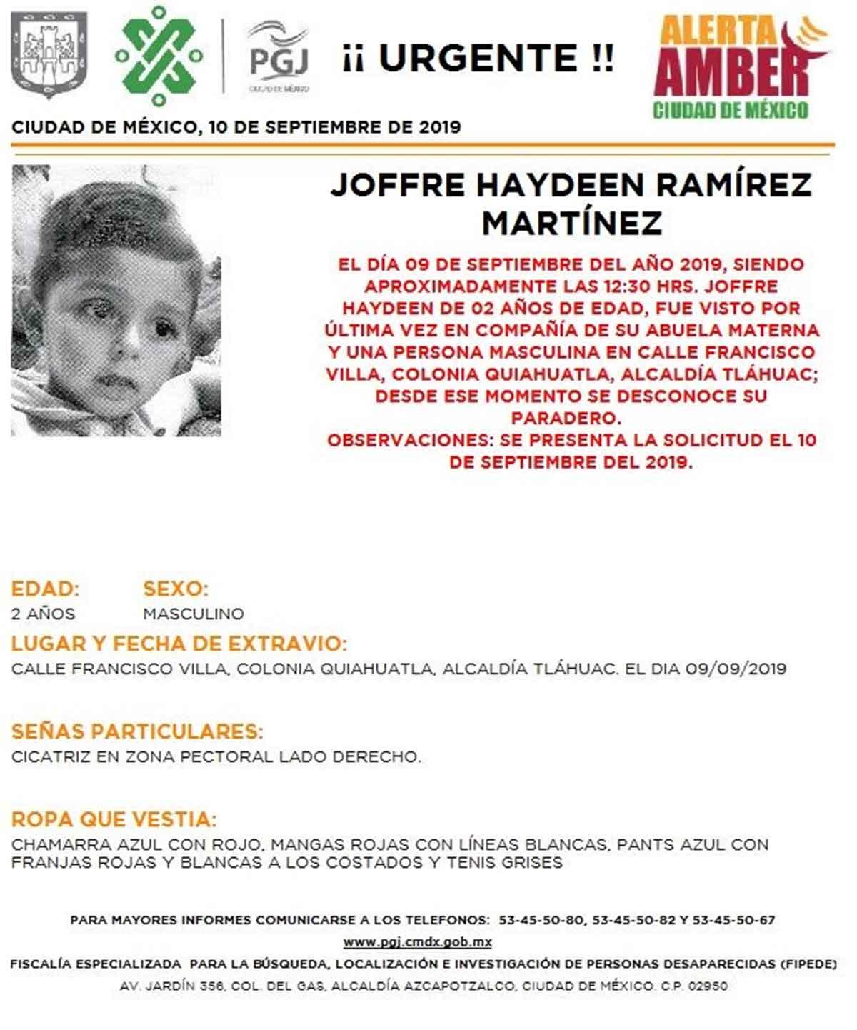 Joffre Haydeen Ramírez Martínez desapareció en la alcaldía Tláhuac el 9 de septiembre.