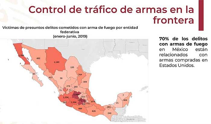 El 70 por ciento de los delitos con armas de fuego en México están relacionados con compras de armamento en el país vecino. Imagen: SRE