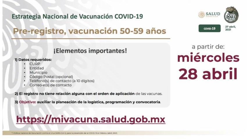Estos son los requisitos para el prerregistrao de adultos de entre 50 y 59 años para que reciban la vacuna contra Covid-19. Imagen: Ssa